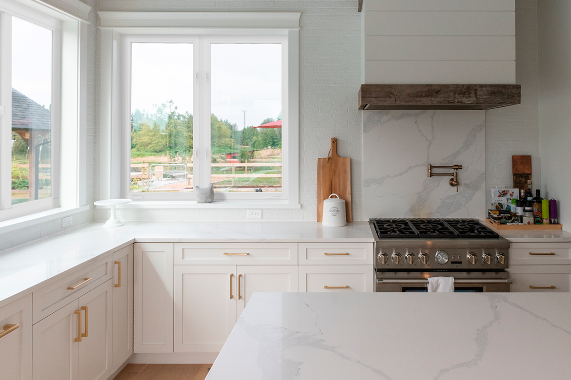 A stylish kitchen with impact resistant windows